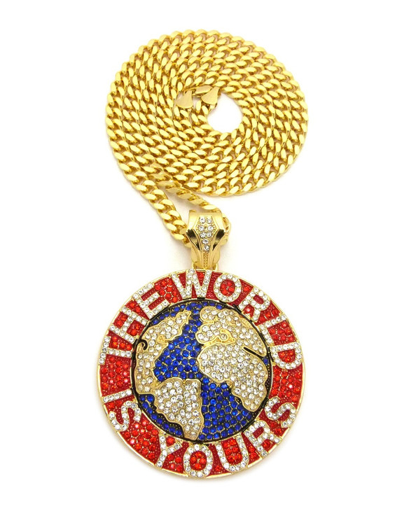 The World Is Yours Scarface Hip Hop Cuban Chain Pendant Red
