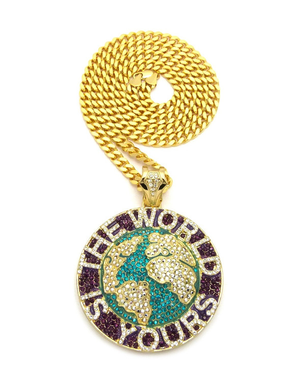 The World Is Yours Scarface Hip Hop Cuban Chain Pendant Green