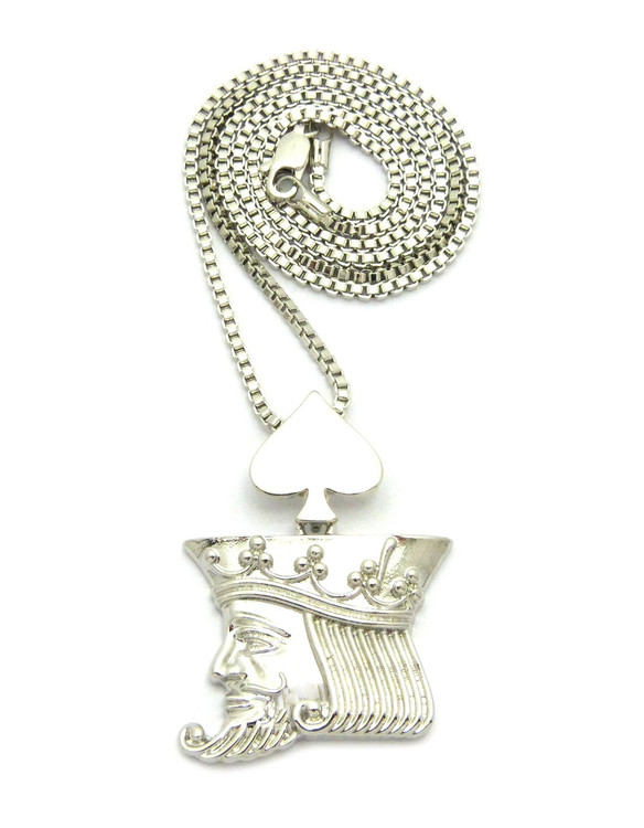King Of Spades Box Chain Pendant Silver