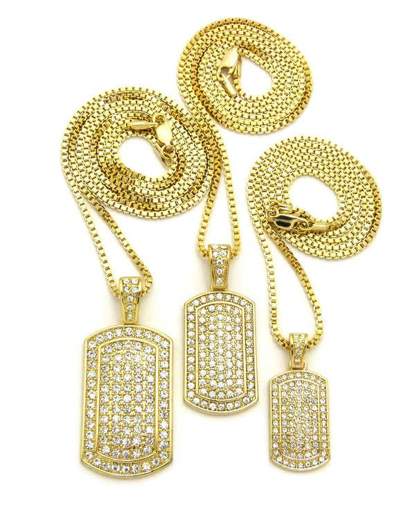 14k Gold Iced Out Dogtag Pendant Chain Set