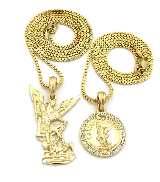 14k Gold Guardian Angel St Michael Trampling Satan Pendant Set