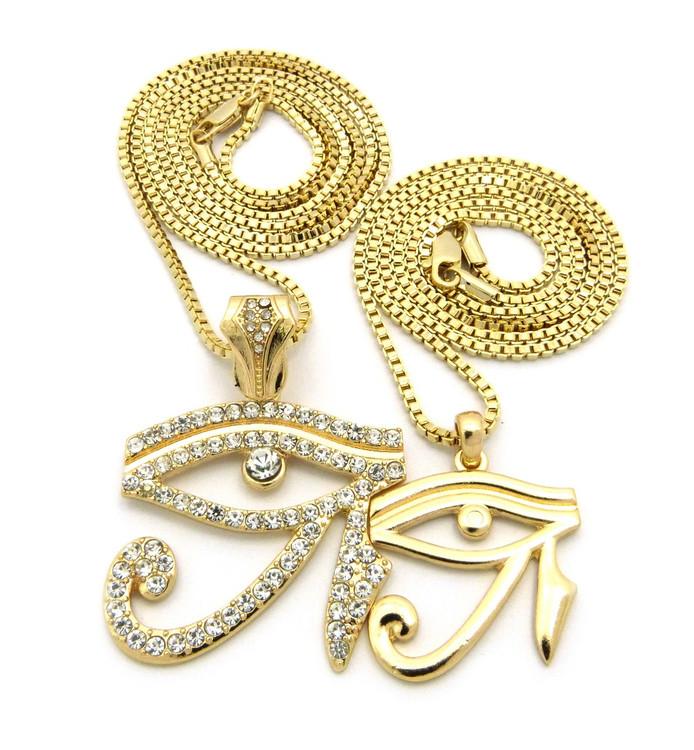 14k Gold GP Simulated Diamond Eye Of Horus Pendant Chain
