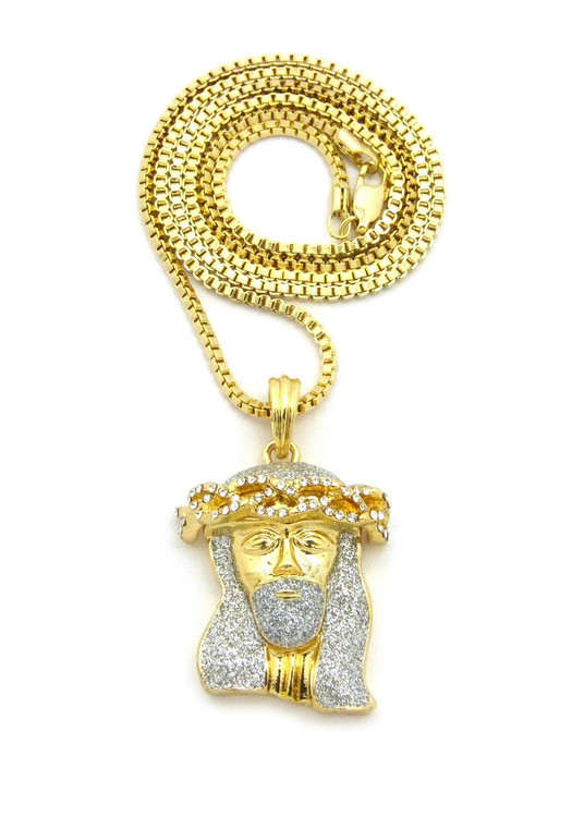 14k Gold Crushed Iced Simulated Diamond Jesus Pendant Clear