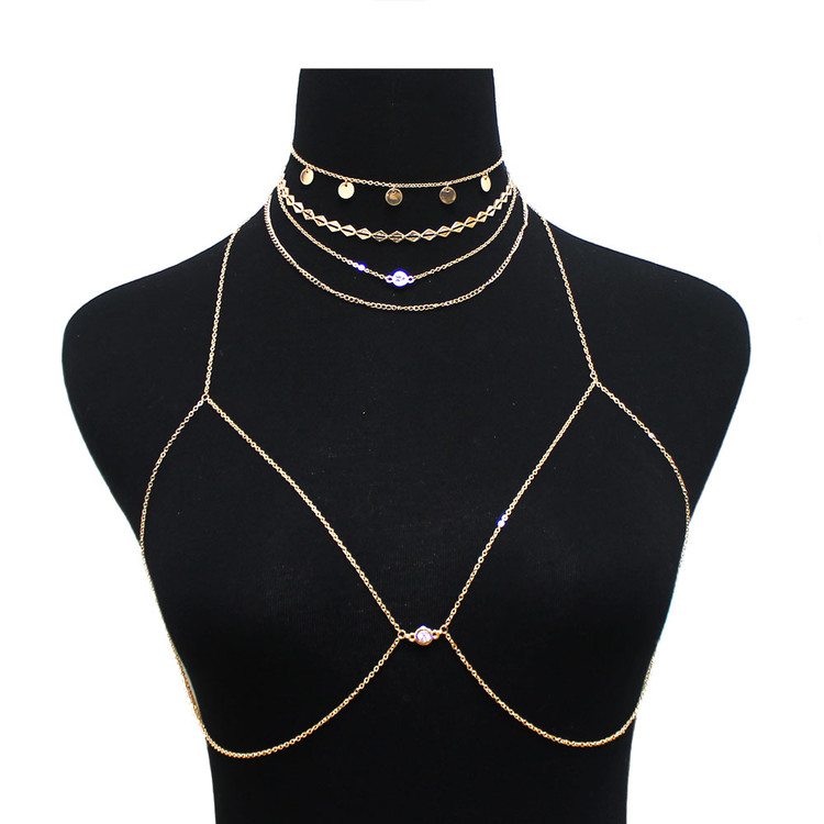 Ladies Sexy Crystal Choker Bra Net Body Chain Gold
