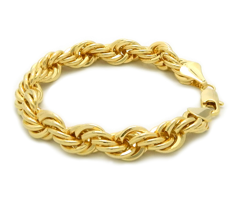 14k Gold 10mm Diamond Cut Rope Chain Bracelet