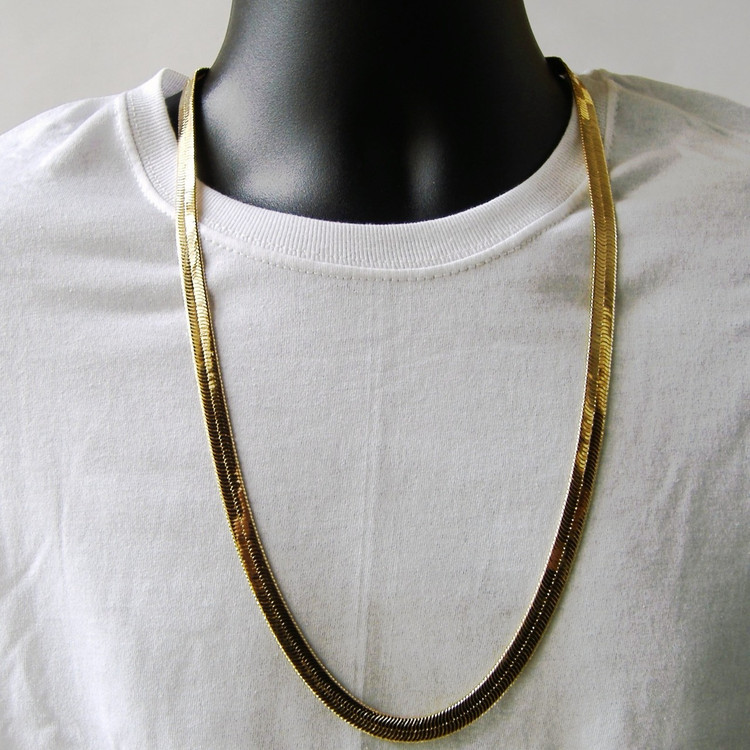 9mm 30 Inch 14k Gold Herringbone Link Chain Necklace