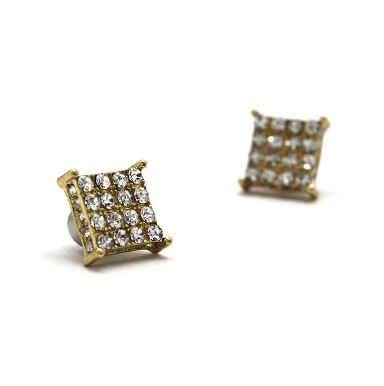 Iced Out Magnetized 4 Corners 14k Gold GP Earrings