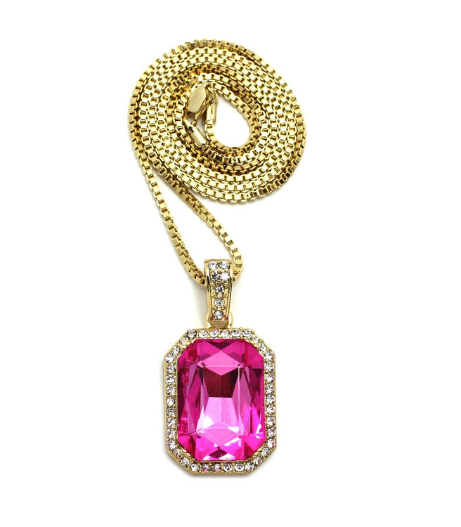 Pink Onyx Shield Simulated Diamond Iced Out Pendant
