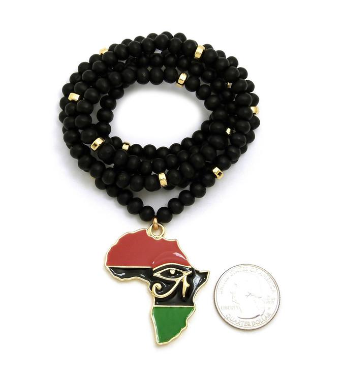 14k Gold GP Mother Africa Enameled Eye Of Ra Pendant