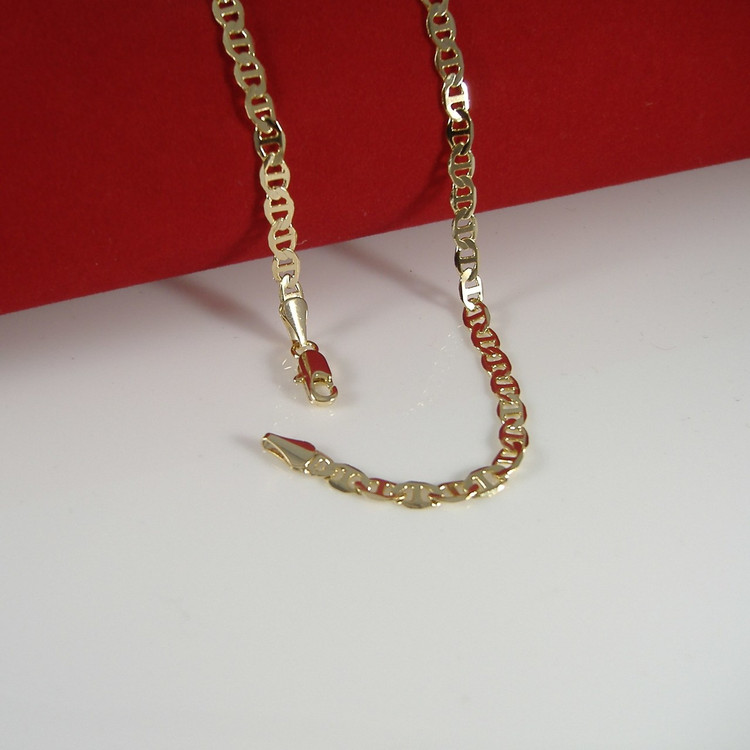 """14k Gold 3.4mm 20"""" G-Link Mariner Anchor Chain Necklace"""