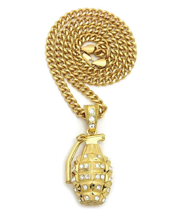Mens 14k Gold GP 3D Grenade Hip Hop Pendant