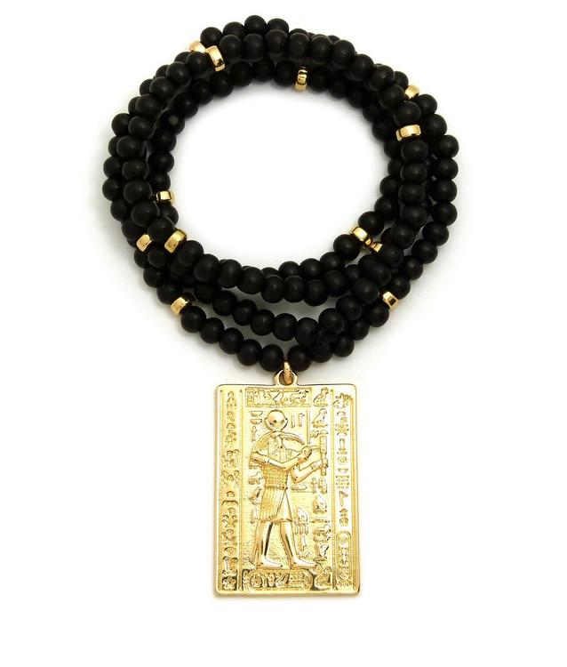 14k Gold God Of Egypt Thoth Medallion Beaded Chain Pendant