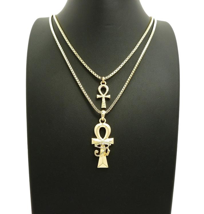 14k Gold Small Double Ankh Cross Eye of Heru Pendant Chain Set