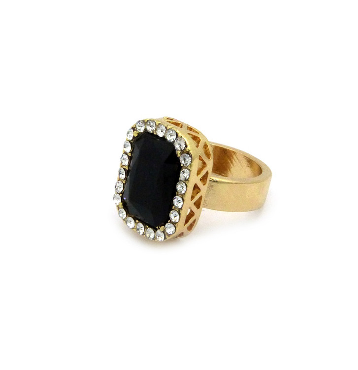 Mens Black Onyx Simulated Diamond Stone Pinky Ring