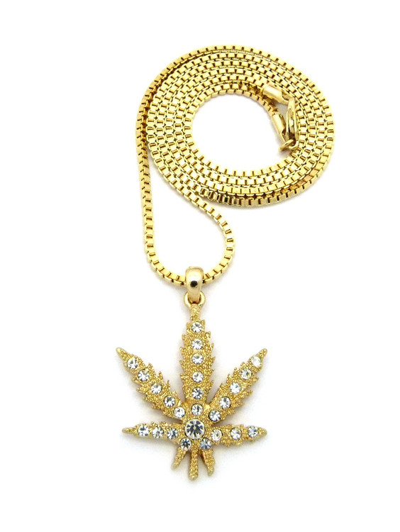 Simulated Diamond Hip Hop 14k Gold Weed Marijuana Leaf Chain