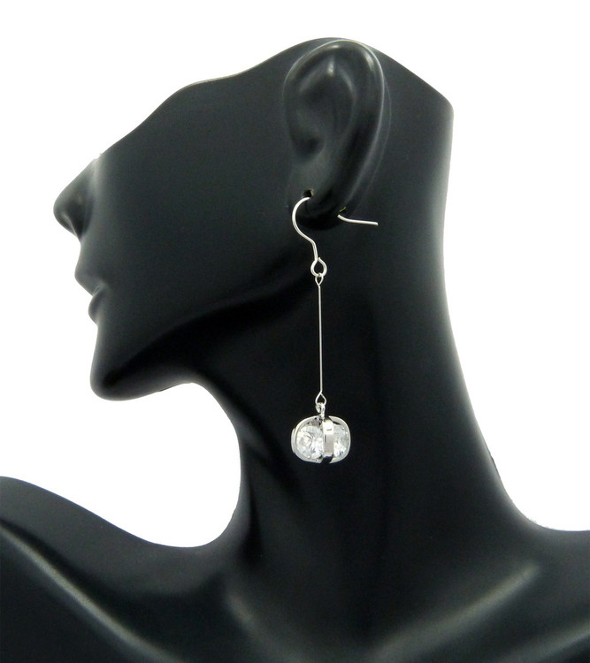 6mm Simulated Diamond Sterling Silver Long Hook Earrings