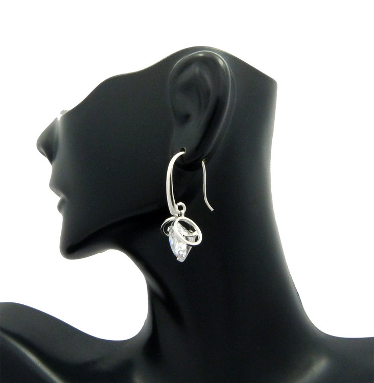12mm Simulated Diamond Sterling Silver Short Hook Earrings