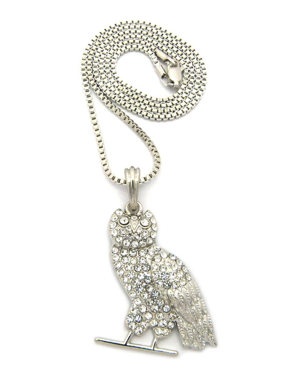 Hip Hop Diamond Cz Celebrity Inspired Perched Owl Pendant