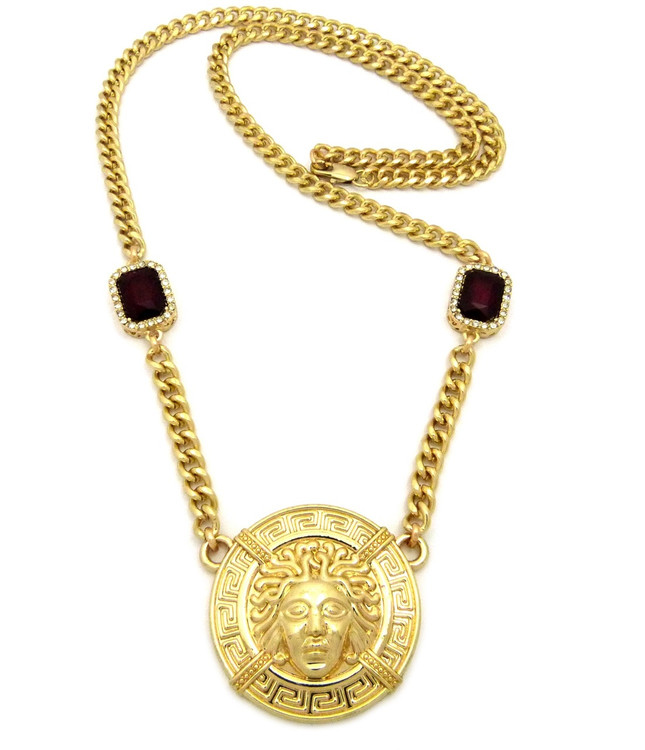 14k Gold Medusa Gemstone Cuban Link Medallion Pendant