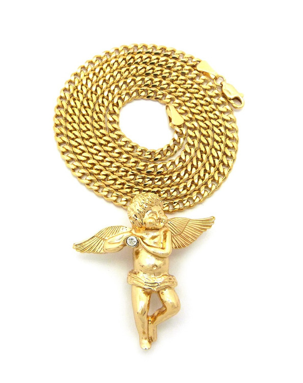 14k Gold Simulated Diamond Angel Cherub Pendant Concave Cuban Chain