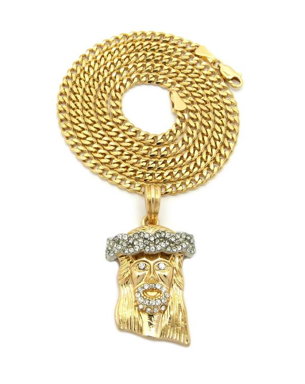 14k Gold Crown of Thorns JESUS Pendant Concave Cuban Chain