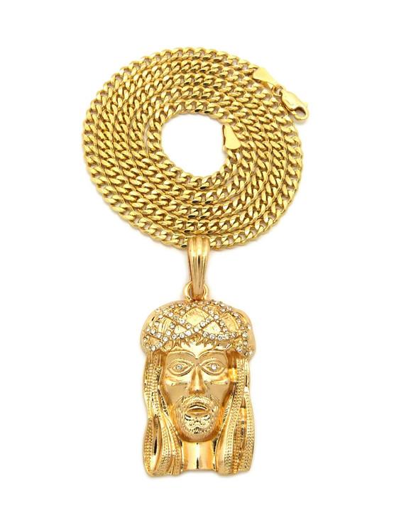 14k Gold Diamond Cz Crown of Thorns JESUS Pendant Cuban Chain