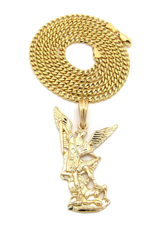 14k Gold St Michael Archangel Trampling Satan Pendant Chain