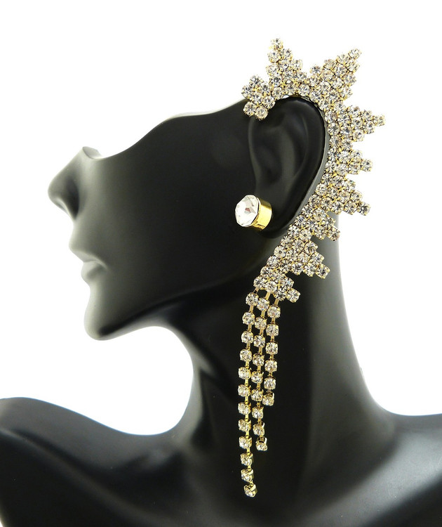 8mm Rhinestone Stud Earring Clip On Rhinestone Ear Cuff