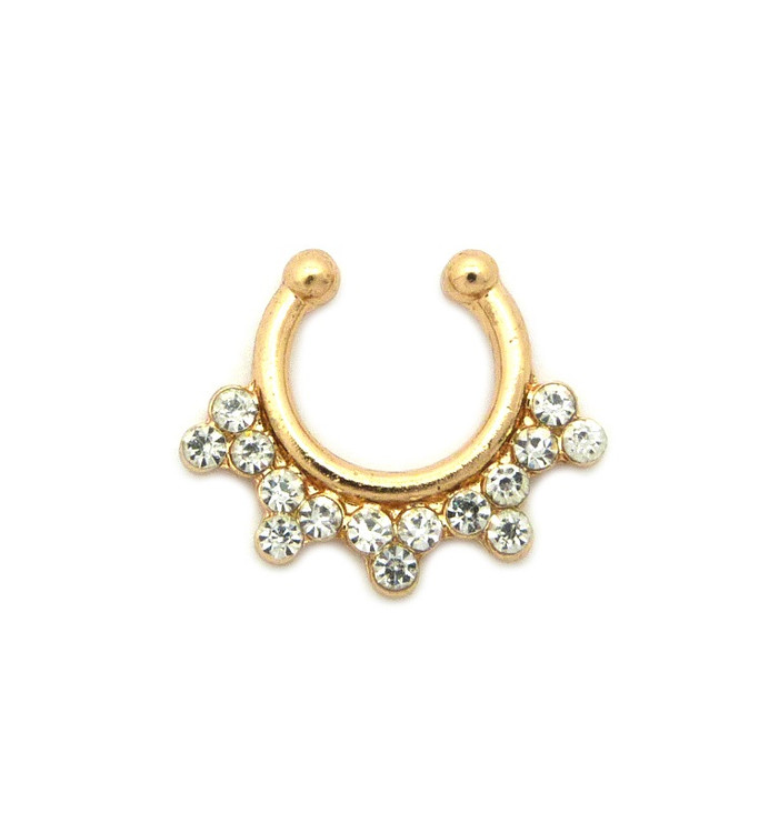Diamond Cz Snowflakes Studded Nose Ring