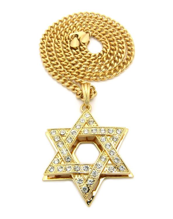 14k Gold Star Of David Simulated Diamond Cuban Link Chain