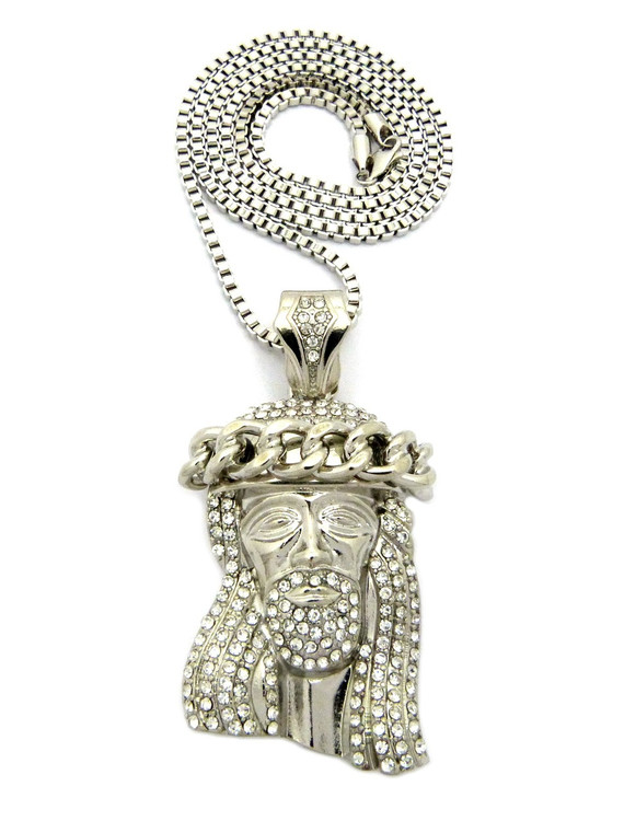 Iced Out Simulated Diamond Jesus Crown Wreath Pendant