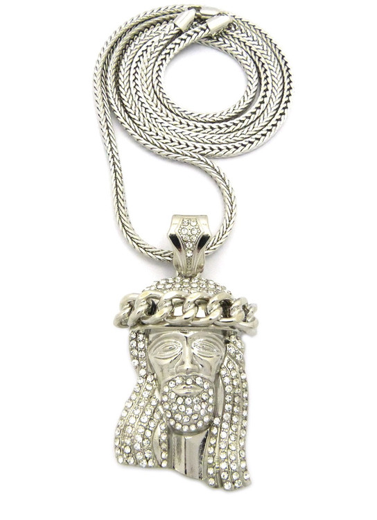 Iced Out Diamond Jesus Crown Wreath Franco Link Pendant