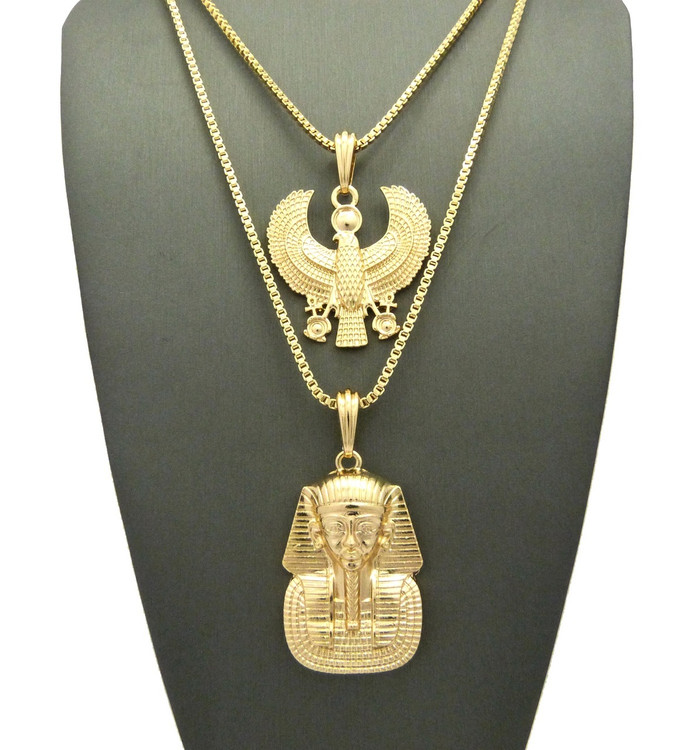 14k Gold King Tut Falcon of Tutankhamun Egypt African Pendant