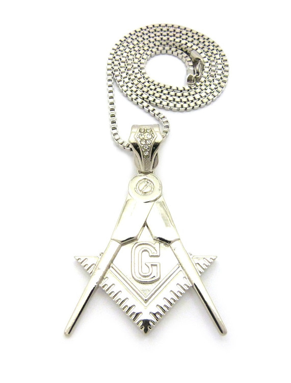 Free Mason Compass Square Simulated Diamond Pendant
