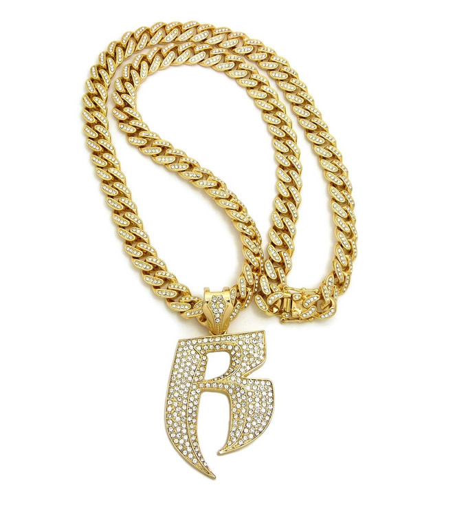 14k Gold Double R Ruff Ryders Hip Hop Cuban Link Pendant