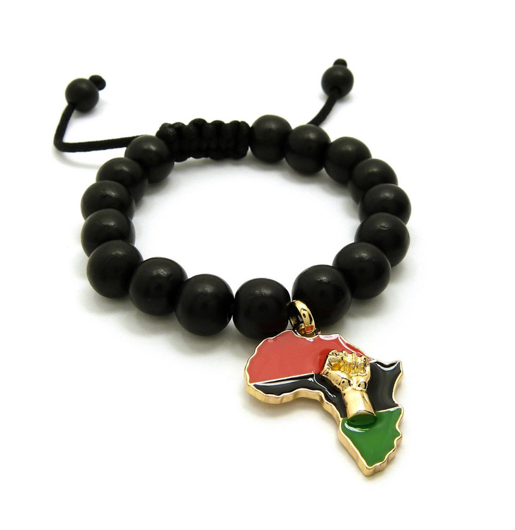 Mother Africa Black Power Fist 14k Gold Accented Wood Bracelet
