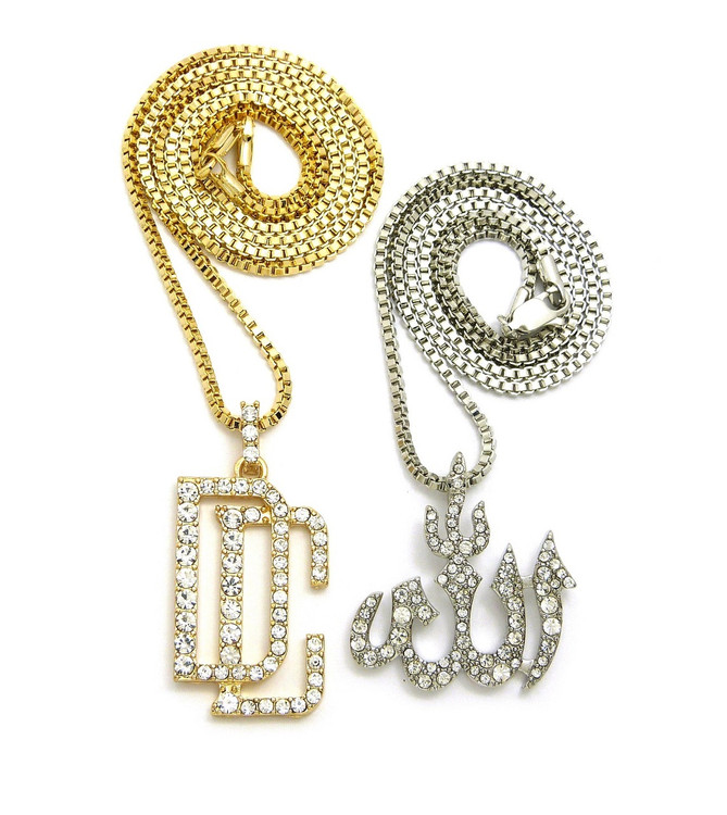 14k Gold DC Dream Chasers Allah Simulated Diamond Pendant