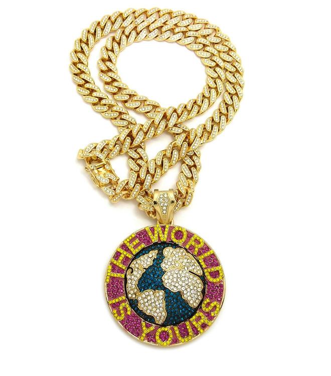 The World Is Yours Scarface Cuban Link Lemonade Hip Hop Pendant
