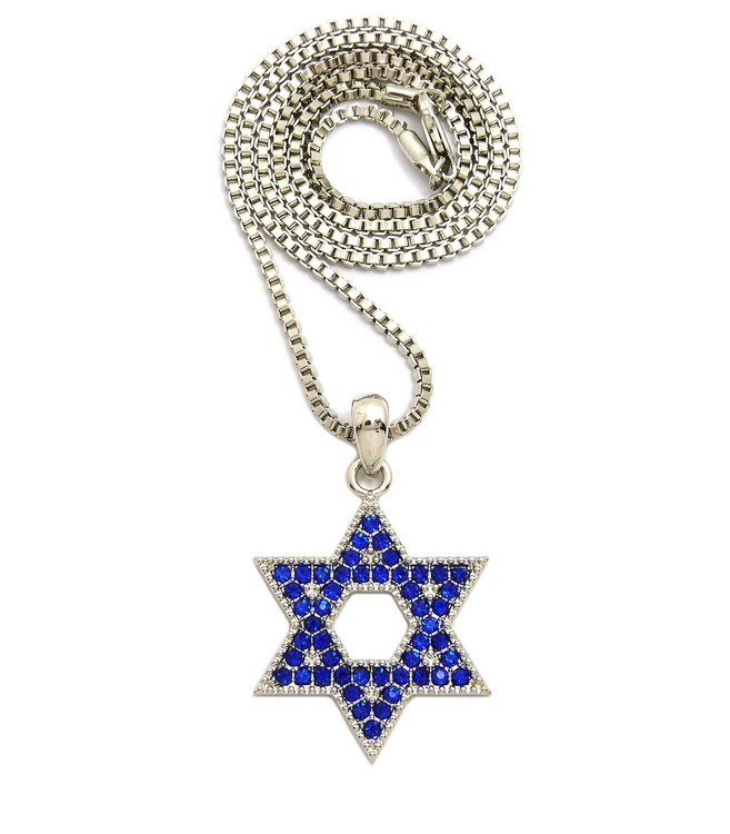 .925 Blue Diamond Cz Stone Star of David Chain Pendant