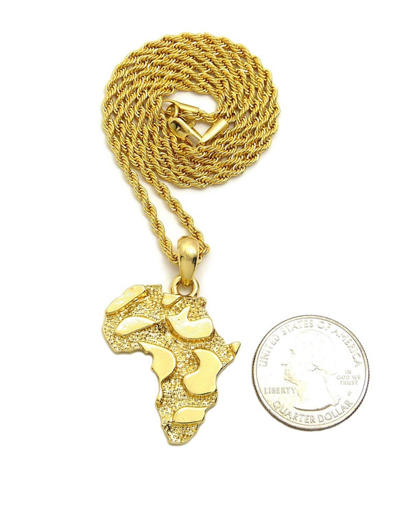 14k Gold Mother Africa Nugget Rope Chain Pendant