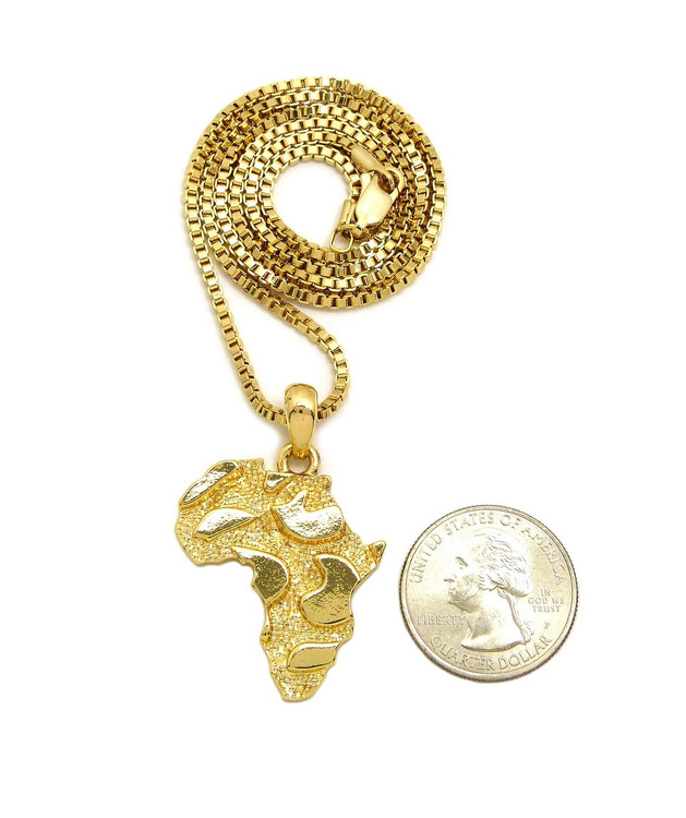 14k Gold Mother Africa Nugget Box Chain Pendant