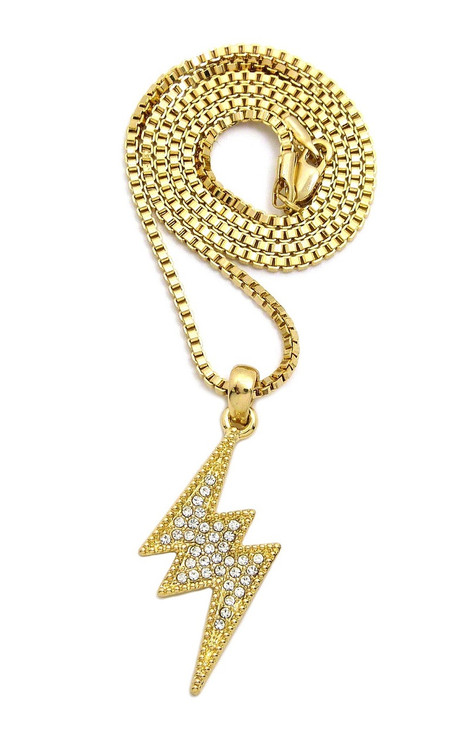 14k Gold Diamond Cz Lightning Bolt Hip Hop Box Chain Pendant