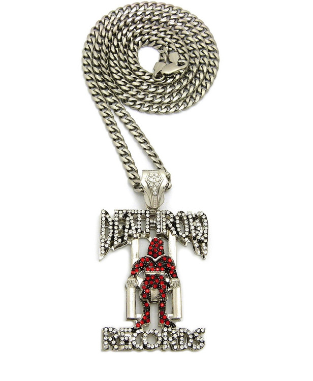 Stainless Steel Link 3D Simulated Diamond Death Row Pendant