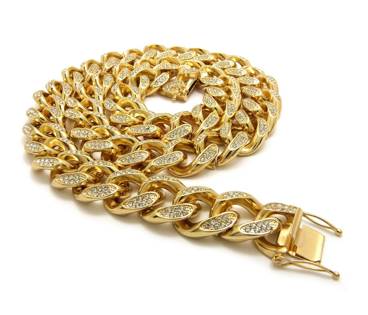 14k Gold Simulated Diamond Stone 18mm Cuban Link Chain