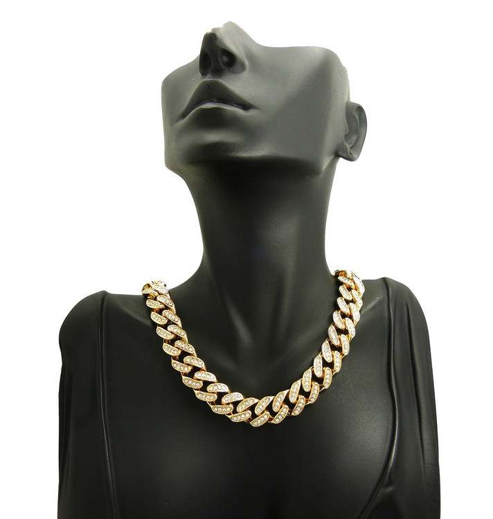 Ladies Simulated Diamond Stone 12mm Cuban Link Chain