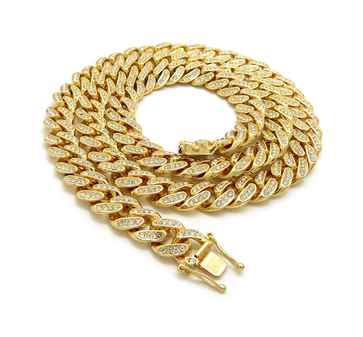 14k Gold Simulated Diamond 12mm 30Inch Cuban Link Chain