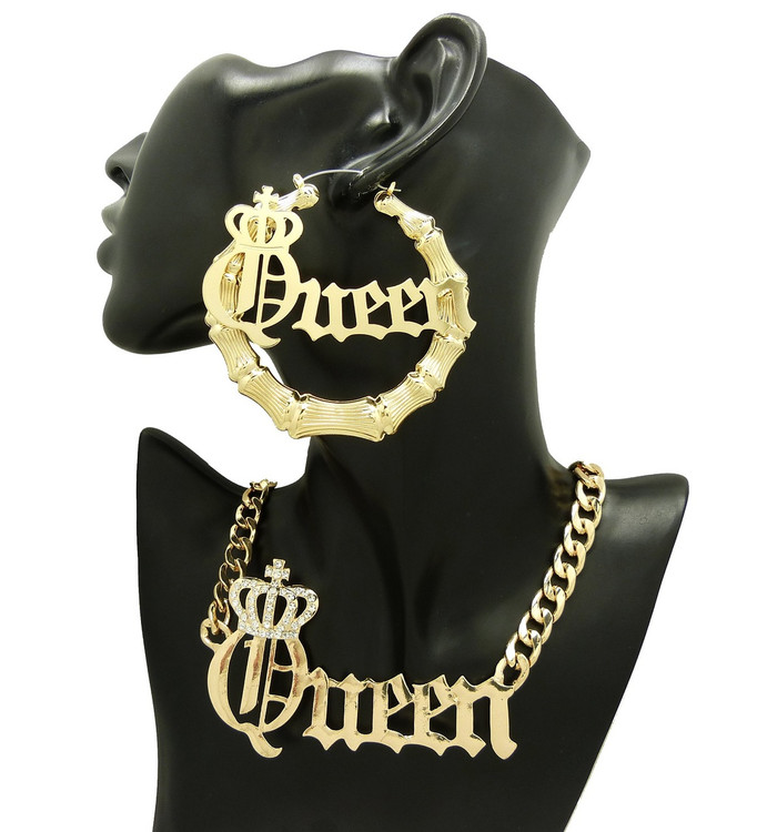 14k Gold Queen Crown Doorknocker Earrings Necklace Set
