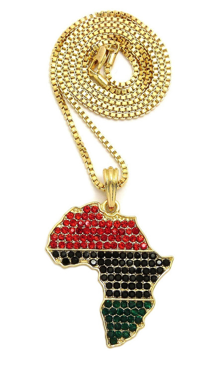 14k Gold Multi Colored Simulated Diamond Africa Pendant