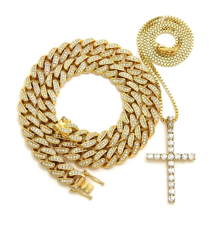 Cuban Link Iced Cross