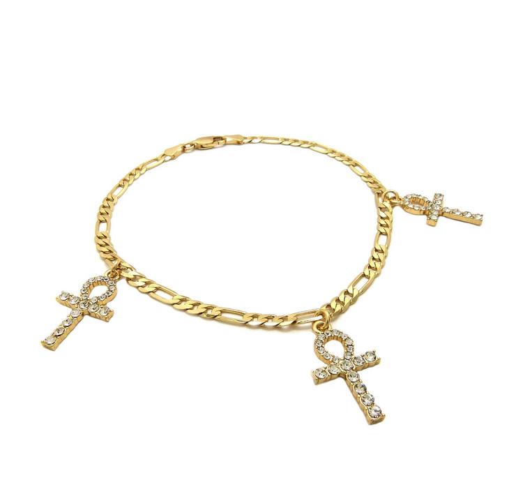 14k Gold African Triple Ankh Cross Ankle Bracelet